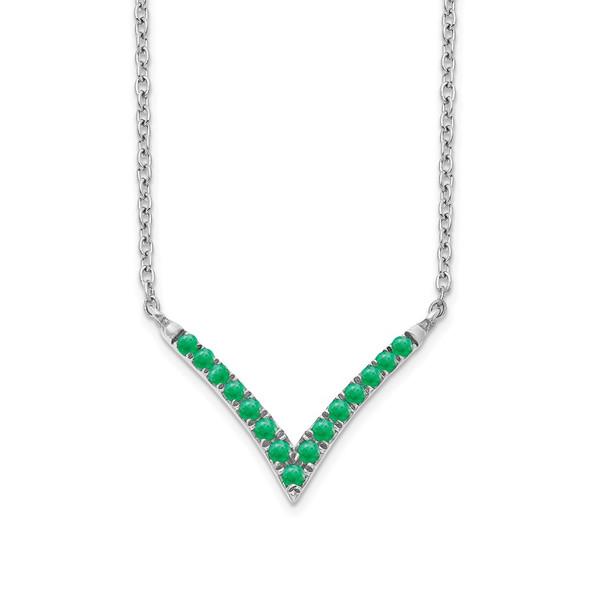 14k White Gold Emerald 18in. V-Necklace