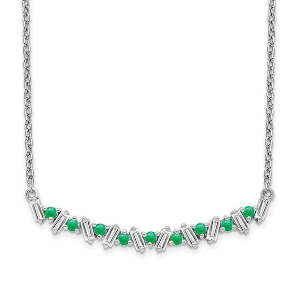 14k White Gold Emerald and Diamond 18in. Bar Necklace PM7256-EM-020-WA