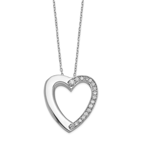Sterling Silver CZ Heart Ash Holder 18in Necklace
