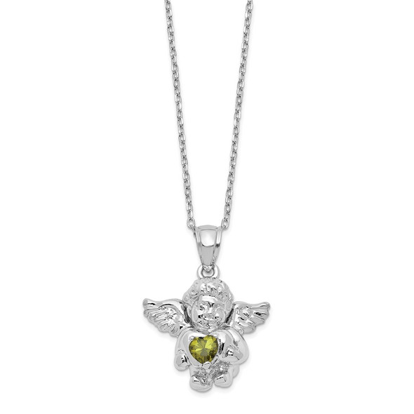Sterling Silver CZ August Simulated Birthstone Angel Ash Holder 18in Necklace