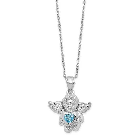 Sterling Silver CZ December Simulated Birthstone Angel Ash Holder 18in Necklace