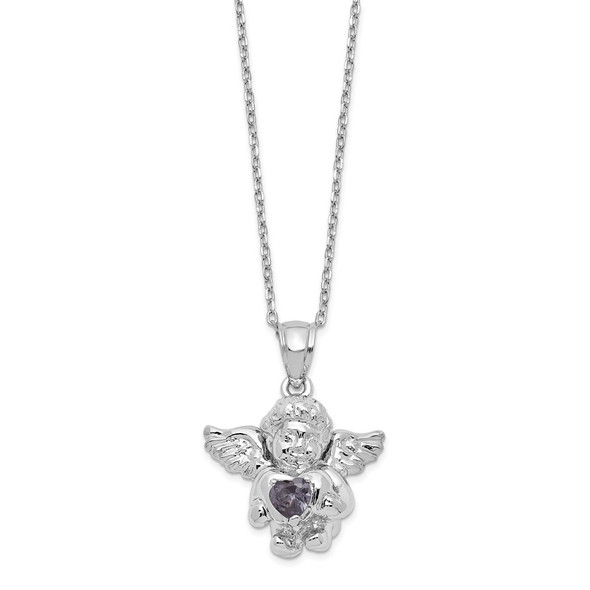 Sterling Silver CZ February Simulated Birthstone Angel Ash Holder 18in Necklace