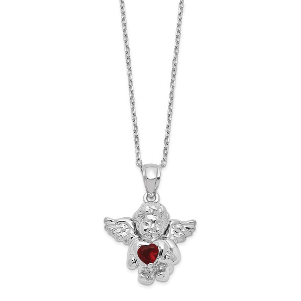 Sterling Silver CZ January Simulated Birthstone Angel Ash Holder 18in Necklace
