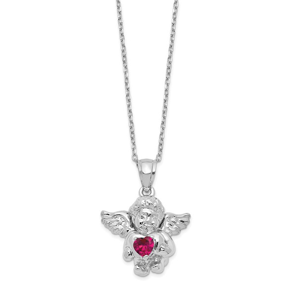 Sterling Silver CZ July Simulated Birthstone Angel Ash Holder 18in Necklace