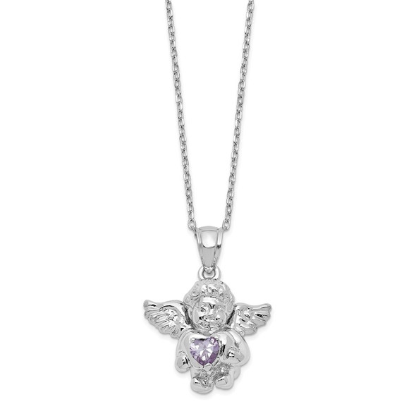 Sterling Silver CZ June Simulated Birthstone Angel Ash Holder 18in Necklace