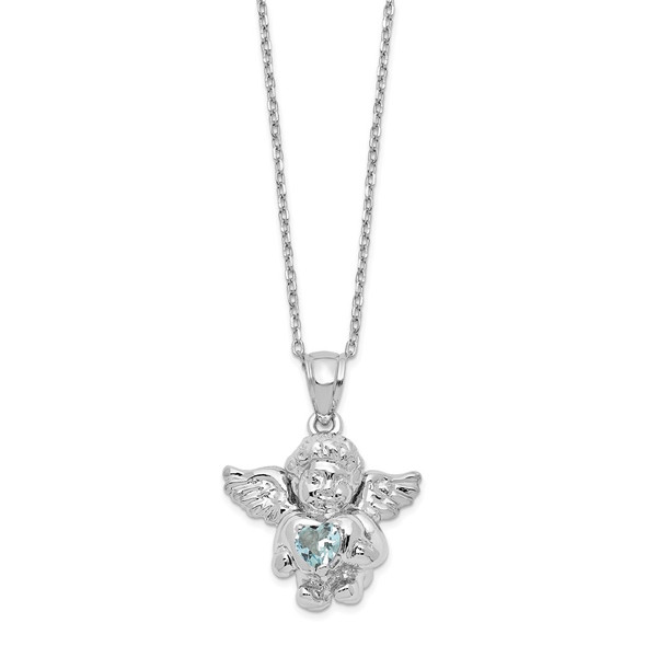 Sterling Silver CZ March Simulated Birthstone Angel Ash Holder 18in Necklace