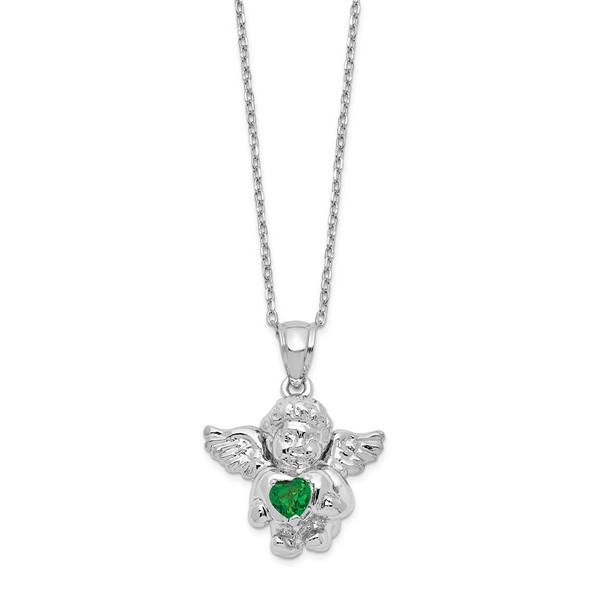 Sterling Silver CZ May Simulated Birthstone Angel Ash Holder 18in Necklace