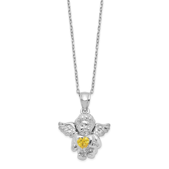 Sterling Silver CZ November Simulated Birthstone Angel Ash Holder 18in Necklace
