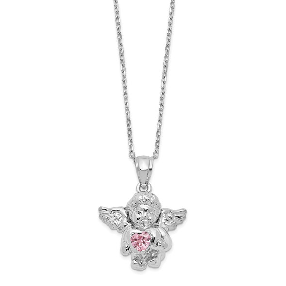 Sterling Silver CZ October Simulated Birthstone Angel Ash Holder 18in Necklace