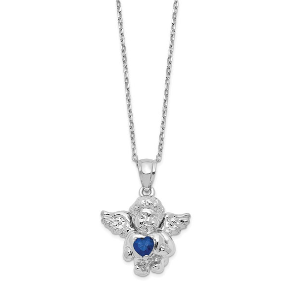Sterling Silver CZ September Simulated Birthstone Angel Ash Holder 18in Necklace