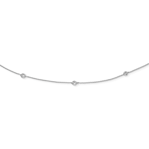 Rhodium-plated Sterling Silver CZ 15-Station Necklace