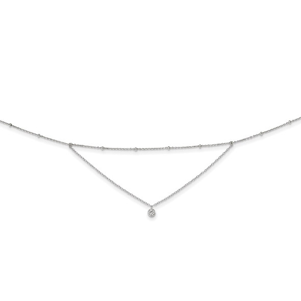 Rhodium-plated Sterling Silver CZ Beaded w/ 4in ext. Choker Necklace