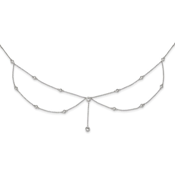 Rhodium-plated Sterling Silver Draped CZ w/4in ext Choker Necklace