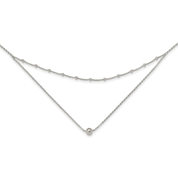 Sterling Silver Polished Beaded w/4 in ext Choker Necklace