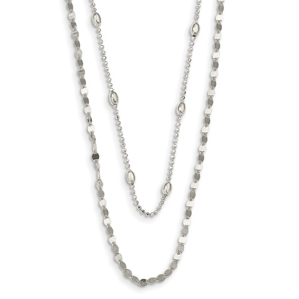 Sterling Silver Polished Double Strand w/4 in ext Choker Necklace