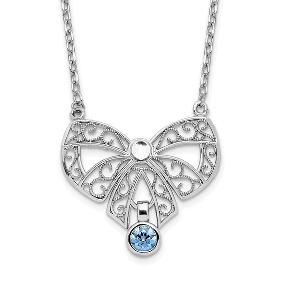 Sterling Silver Polished March Bow CZ Simulated Birthstone Necklace