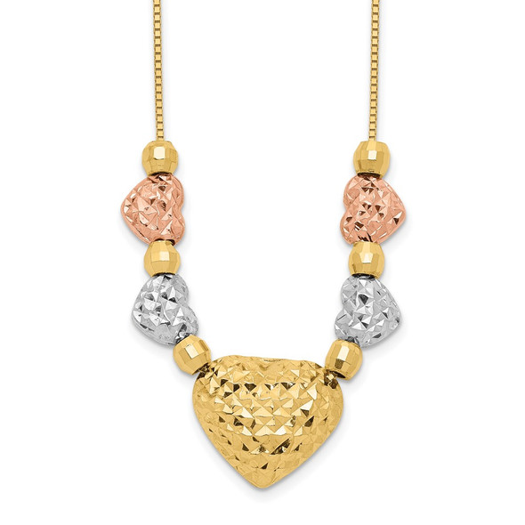 14k Tri-color Gold Puff & Flat Hearts Necklace