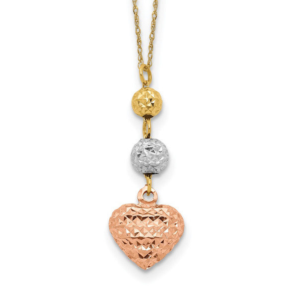 14K Tri-color Gold Ropa Diamond-Cut Beads & Heart w/ 2in Ext Necklace