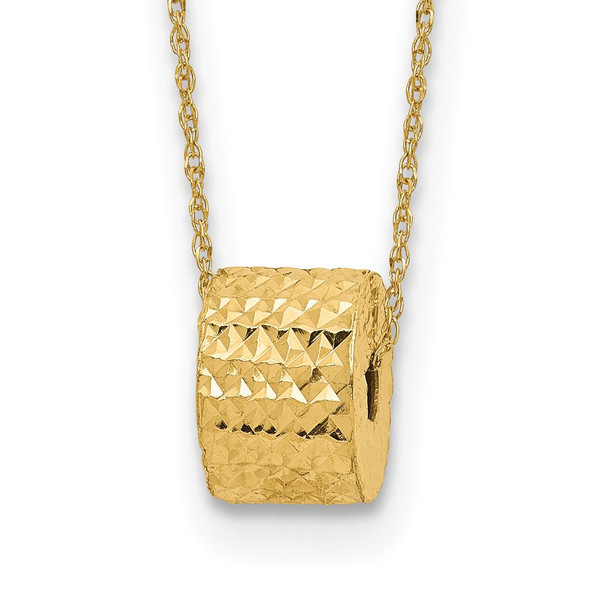 14k Yellow Gold Rope Chain w/ Barrel Bead w/ 2in Extension Necklace