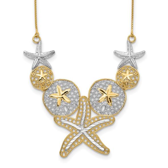 14k Yellow Gold & Rhodium Diamond-cut Starfish and Sand Dollar Necklace