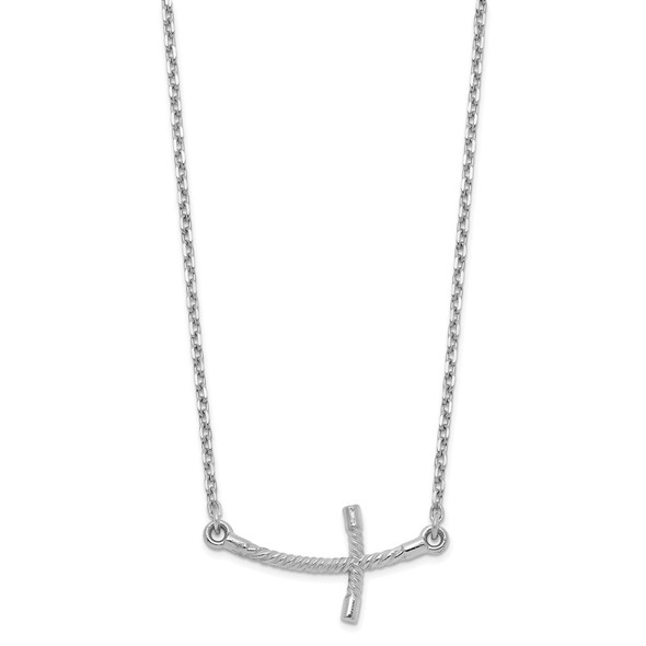 14k White Gold Small Sideways Curved Twist Cross Necklace