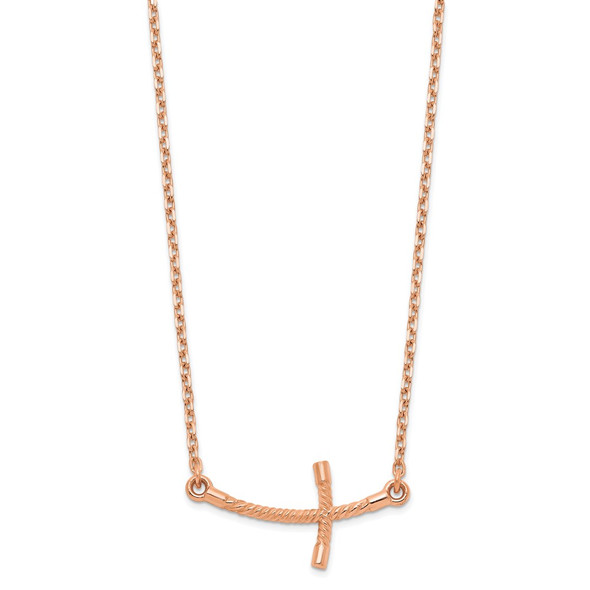 14k Rose Gold Small Sideways Curved Twist Cross Necklace