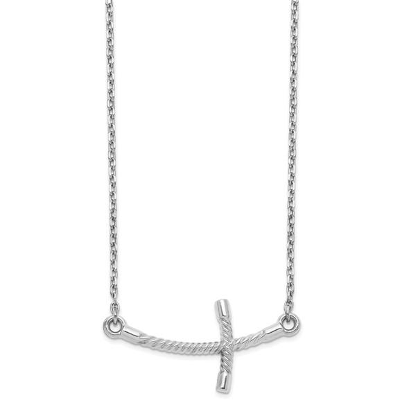 14k White Gold Large Sideways Curved Twist Cross Necklace