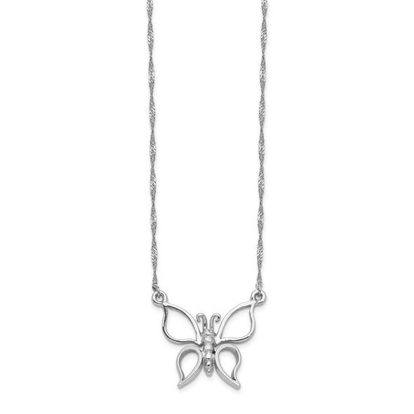14k White Gold Polished Butterfly Necklace