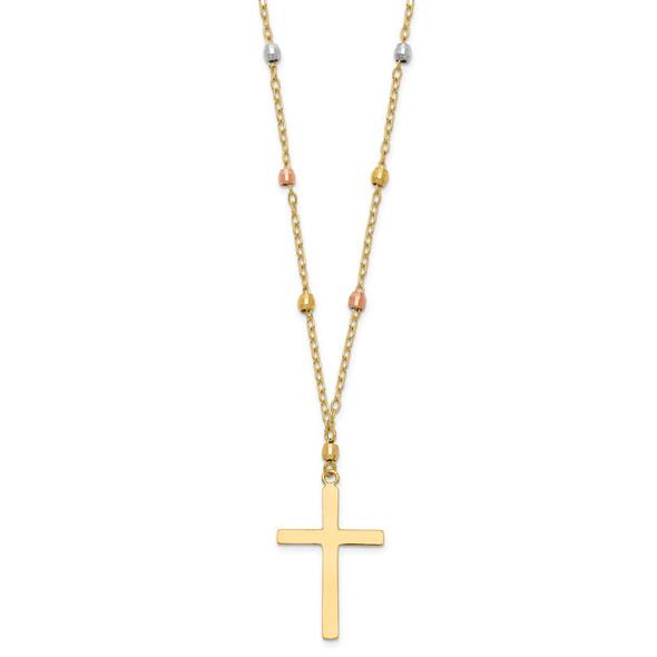 14K Tri Colored Gold Diamond-Cut Beaded Cross Necklace