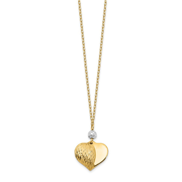 14K Two tone Gold Polished & Diamond-cut Puffed Heart Necklace
