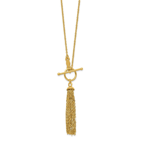14k Yellow Gold Cable Chain Tassel Toggle Necklace