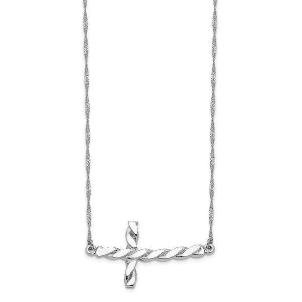 14k White Gold Polished Twisted Sideways Cross 17 inch Necklace