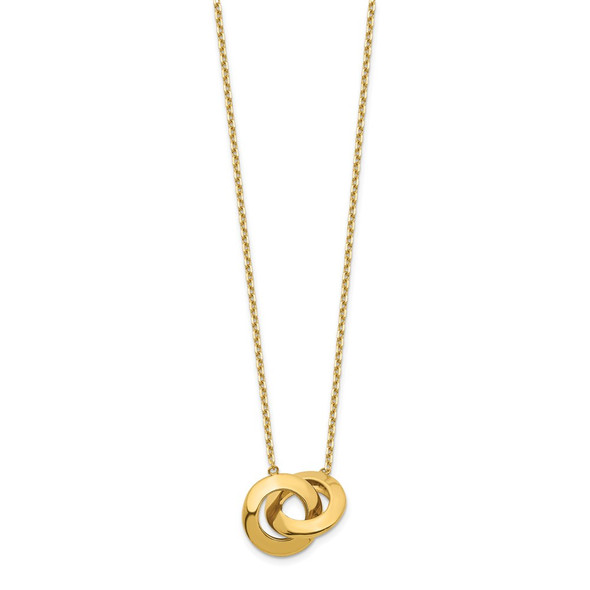 14k Yellow Gold Polished Interlocking Circle 16 inch w/ 1 inch ext. Necklace