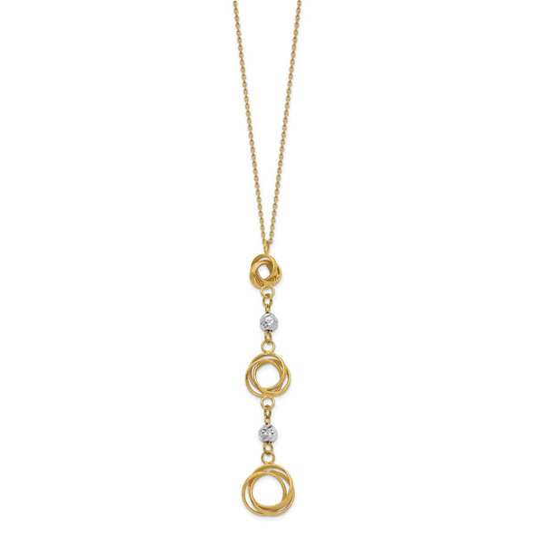 14k Two-tone Gold Graduated Love Knots w/ Diamond-Cut Beads Y-Necklace