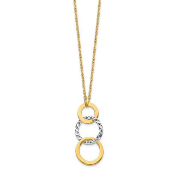 14k Two-tone Gold Polished & Textured 3-Circle Necklace