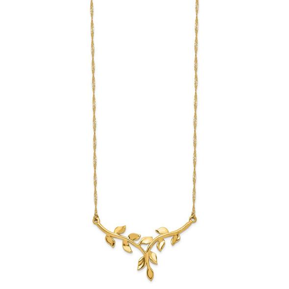 14k Yellow Gold Polished Leaf Necklace
