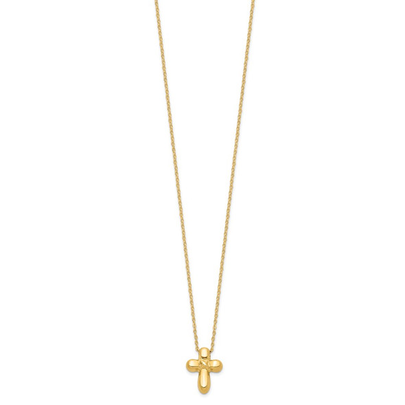 14k Yellow Gold 16in Hollow Cross Necklace