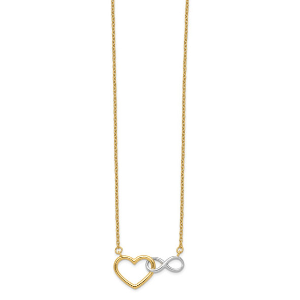 14K Yellow Gold & White Rhodium Heart with Infinity Symbol Necklace