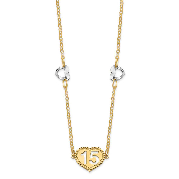 14K Two-tone Gold Polished 15 Heart w/2 in ext Necklace
