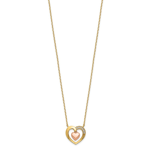 14K Two-tone Gold Hearts CZ with 2IN EXT Necklace