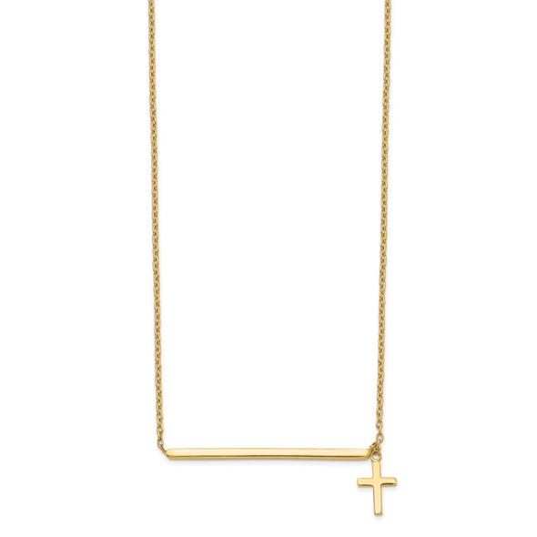 14k Yellow Gold Polished Cross w/ 2in ext. Necklace