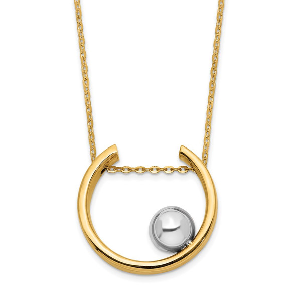 14K Two-tone Gold Open Circle Pendant with Bead Necklace
