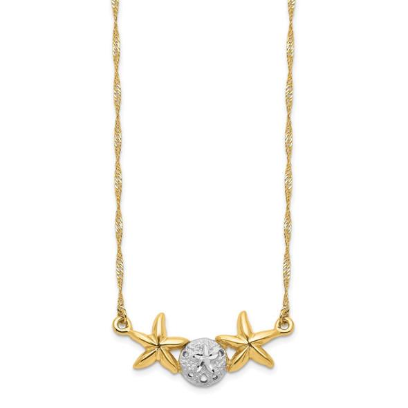 14K Yellow Gold & White Rhodium Brushed & Polished Sand Dollar Starfish Necklace