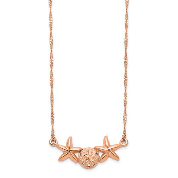 14K Rose Gold Brushed & Polished Sand Dollar Starfish Necklace