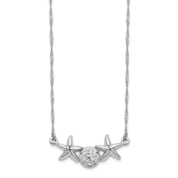 14K White Gold Brushed & Polished Sand Dollar Starfish Necklace