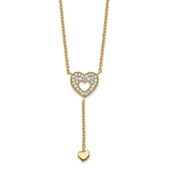 14k Yellow Gold Heart with CZs Necklace