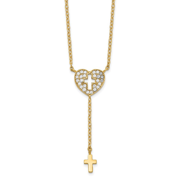 14k Yellow Gold Heart with Cross CZ Necklace