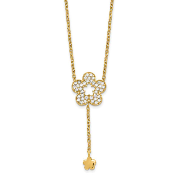 14k Yellow Gold Flower CZ Necklace