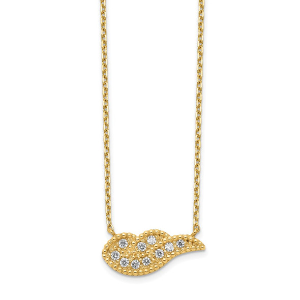 14k Yellow Gold Angel Wing CZ with 2IN EXT Necklace