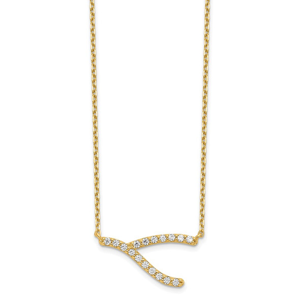 14k Yellow Gold Wishbone CZ with 2IN EXT Necklace